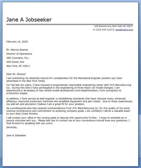 cover letter mechanical engineer sample creative resume