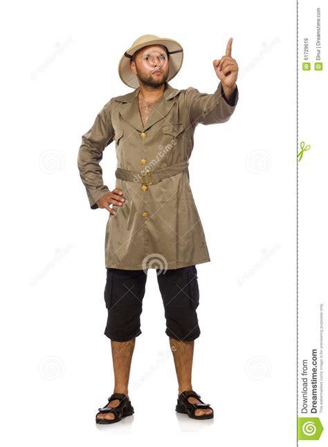 l homme dans le chapeau de safari d isolement sur le blanc photo stock image 61729619