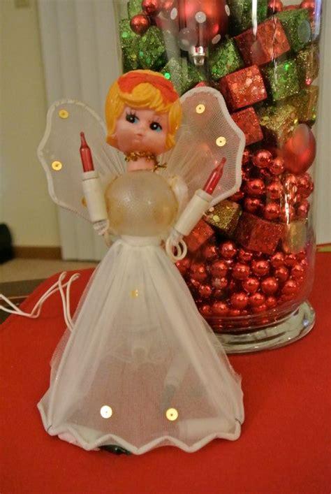 reduced sale christmas vintage angel tree topper tree