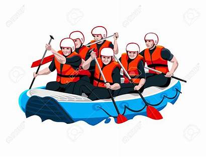 Rafting Clipart Water Teamwork Boat Whitewater River