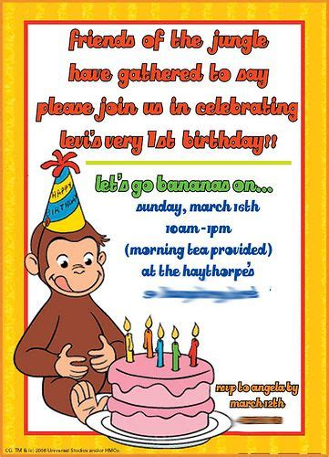 curious george invitations templates curious