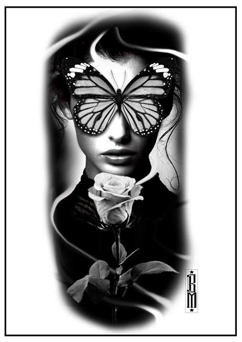 butterfly face tattoo woman design digital black and grey tattoos   Grey tattoo, Black, grey