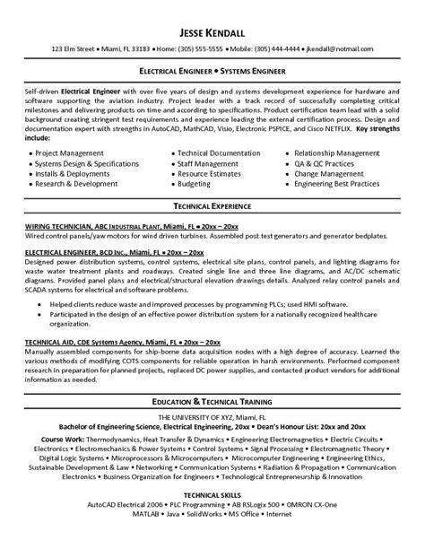 Undergraduate Electrical Engineering Resume electrical engineer resume sle 2016 resume