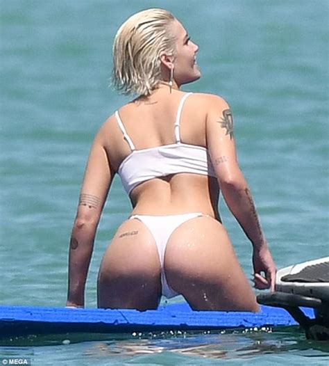 mgk swimsuit halsey flashes her derriere with beau g eazy in miami