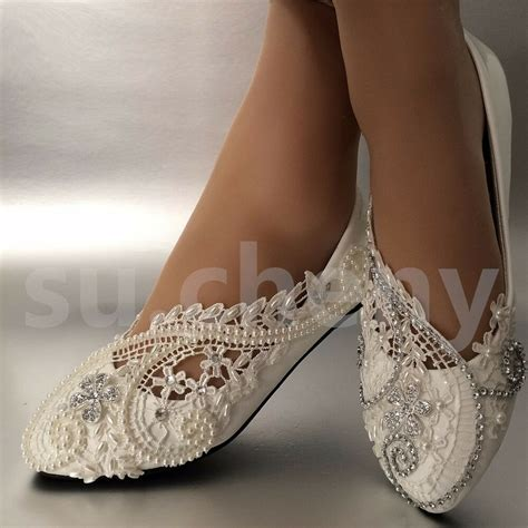 Wedding Flats by White Ivory Pearls Lace Wedding Shoes Flat