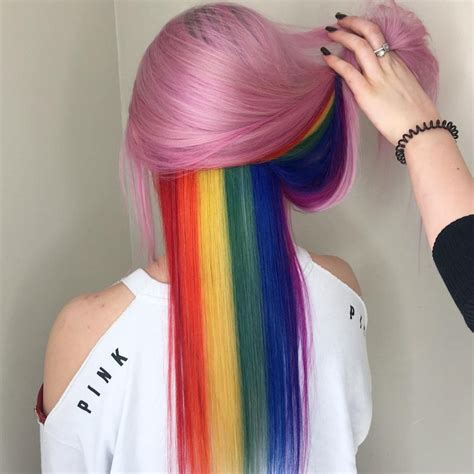 Bubble Gum Pink And A Hidden Rainbow Hair Color Trend 2018