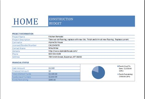 home construction budget worksheet  excel excel templates