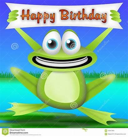 Frog Birthday Happy Cartoon Card Greeting Banner