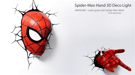 spider man mask and hand 3d deco night lights from