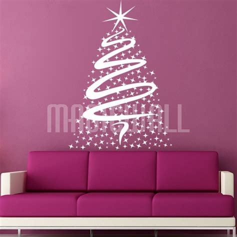 bright christmas tree stars wall decals wall stickers