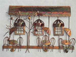 Vintage copper metal wall art sculpture sidewalk cafe