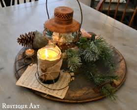 a wintery rustic christmas centerpiece