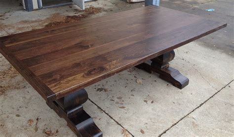black walnut table top black walnut sculpted base trestle table table and