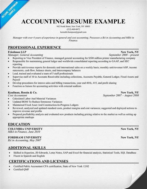 accounting supervisor resume resume sles across all