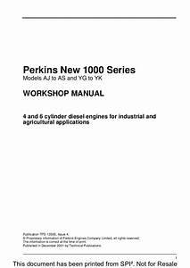 Perkins New 1000 Series Models Ar Diesel Engine Service Repair Manual