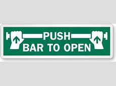 Push Bar To Open Label with Graphic, SKU LB1561