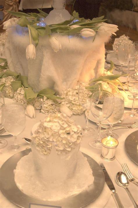 arctic winter wedding theme wedding table decorations