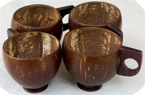coconut shell tea coffee cups set of 4 shopping