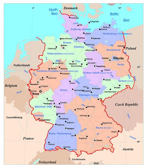 detailed administrative map  germany  major cities