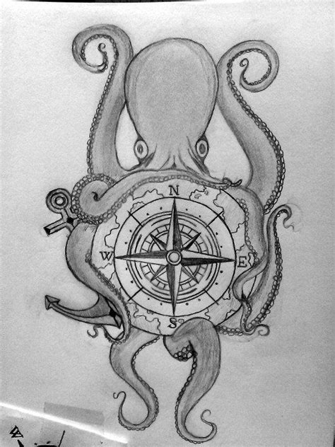 Octopus and compass in pencil. Future tattoo. (With images