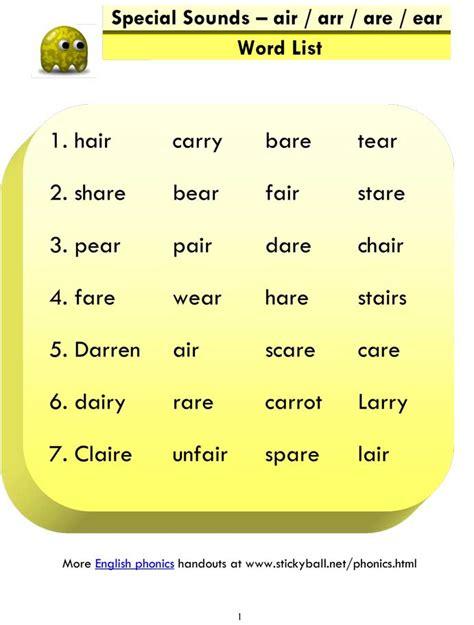 advanced phonics air arr  ear word list