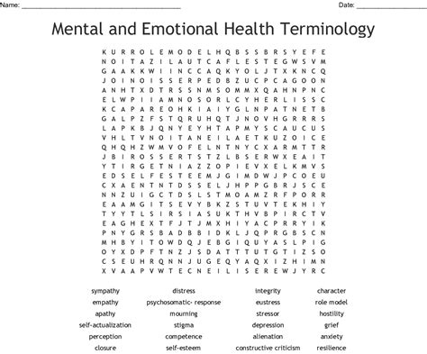 Mental And Emotional Health Terminology Word Search