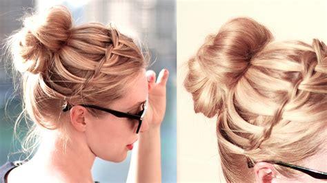 waterfall bun hairstyle  schooleveryday medium hair