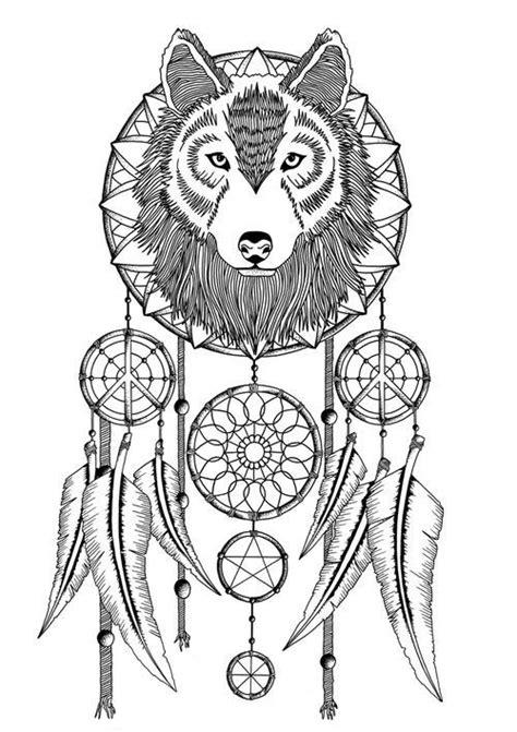 Dream Catcher Wolve Spirit   Desenhos para colorir adultos