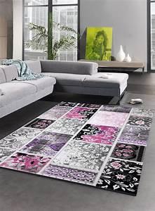 Tapis Salon Moderne : tapis de salon vintage tendance violet ~ Teatrodelosmanantiales.com Idées de Décoration