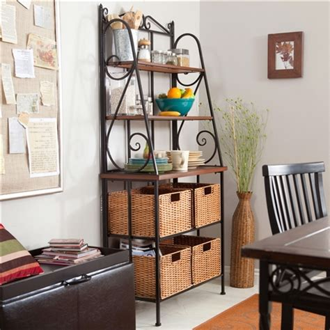 durable metal  wood bakers rack  classic wicker