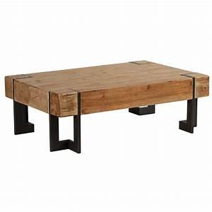 Table Basse Bois Industriel : le style industriel de la table basse rectangulaire fabrik en bois brut ~ Teatrodelosmanantiales.com Idées de Décoration