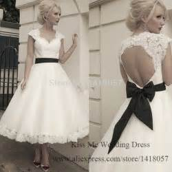 alternative brautkleider 2015 vintage wedding dress tea length lace bridal gowns white black sash bow cap sleeve
