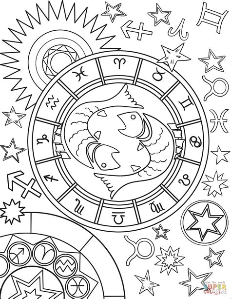 pisces zodiac sign coloring page  printable coloring