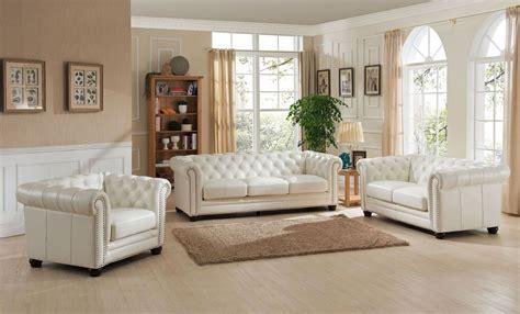 monaco pearl white leather living room set  amax
