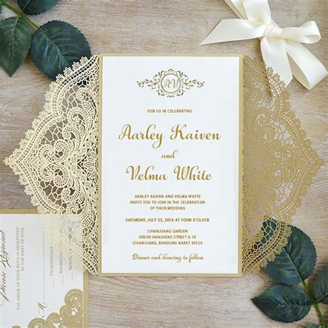 Gold Lace Wedding Invitations Suite Elegant Laser Cut