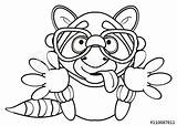Cartoon Tongue Silhouette Raccoon Glasses Coloring Mask Gray Animal Hugs Artful Paws Sit Striped Pull Isolated Legs Sketch Toy Comic sketch template