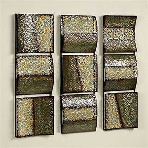 Intermission in green metal wall art panel set for Wall panel art