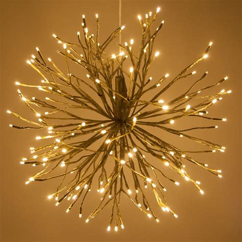 gold starburst lighted branches  warm white led