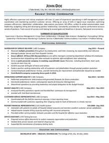 Railroad Resume Summary railroad resume exle railway operations service supervisor
