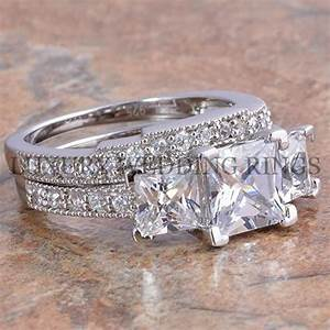 375ct princess cut 3 stone engagement wedding ring set for Three stone wedding ring set