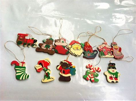 12pcs small wooden hanging christmas tree ornament decor