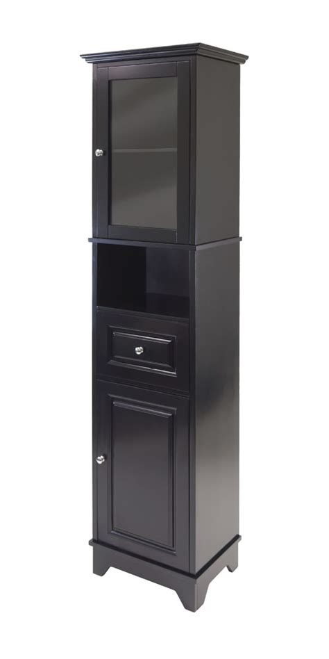 tall black storage cabinet winsome alps tall home kitchen storage cabinet with glass