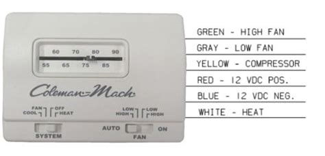coleman mach 7330f3361 analog cool only rv air conditioner thermostat white