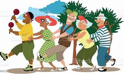 Seniors Elderly Volunteer Conga Dance Vector Line