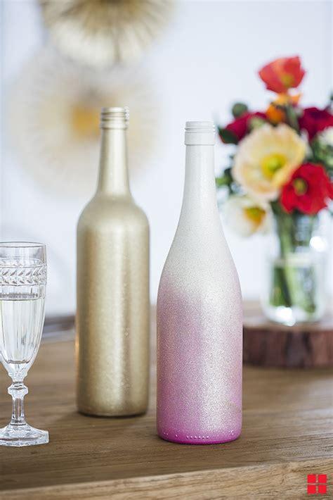 diy ombre wine bottle wedding table centerpieces