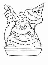 Coloring Cookie Monster Pages Ice Cream Sundae Monsters Sundaes Birthday sketch template