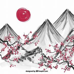 Hand painted japanese background Vector | Free Download