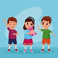 Free Vector | Cute happy kids smiling cartoons