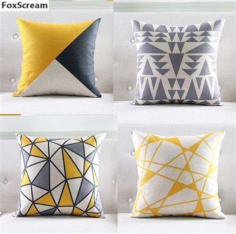 nordic style cushion cover gray yellow decorative pillows geometric cushions covers home decor