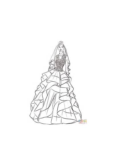 Coloring Bride Pages Pretty Drawing Printable Paper
